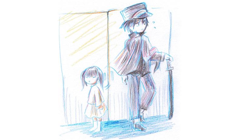 女の子と軍服の男